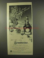 1956 Benedictine B & B Liqueur Ad - With a Flourish