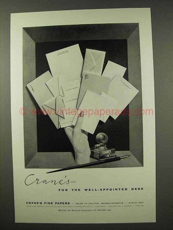 1956 Crane's Fine Papers Ad - Well-Appointed Desk