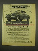 1956 Renault Dauphine Car Ad - Performance Royal