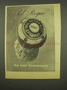 1956 Pol Roger Champagne Ad - The Best