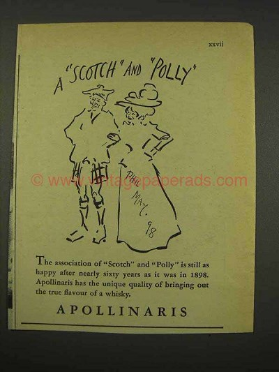 1956 Apollinaris Water Ad - Scotch and Polly, Phil May
