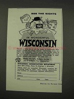1956 Wisconsin Tourism Ad - See The Sights