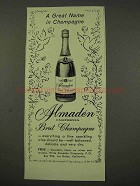 1956 Almaden Brut Champagne Ad - Great Name
