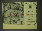 1956 Bisquit Cognac Ad - A Rare Compliment to Palate