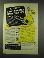 1949 McCulloch Model 3-25 Chain Saw Ad - At Last!