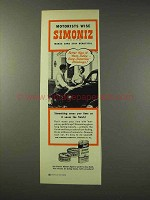 1949 Simoniz Wax Ad - Motorists Wise
