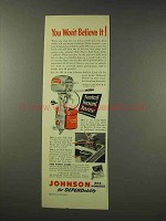 1949 Johnson QD Outboard Motor Ad - Won't Believe It