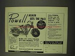 1949 Powell P-81 Motorcycle Ad - Again Sets the Pace