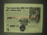 1949 Coleman Folding Camp Stove, Floodlight Lantern Ad