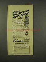 1949 Beltone Hearing Aid Ad - You're Hard of Hearing