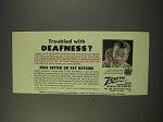 1949 Zenith 75 Radionic Hearing Aid Ad - Deafness