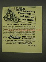 1949 Indian Motorcycle Ad - Save on Transportation