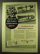 1948 Bausch & Lomb Metallographic Equipment Ad