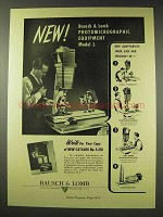 1948 Bausch & Lomb Photomicrographic Equipment Ad