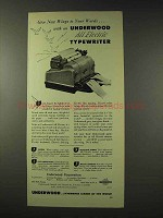 1948 Underwood All Electric Typewriter Ad - New Wings