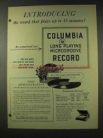 1948 Columbia LP Record Ad - Plays Up to 45 Minutes!