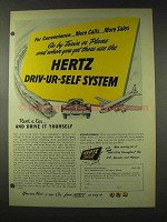 1948 Hertz Rent-a-Car Ad - Driv-ur-Self System