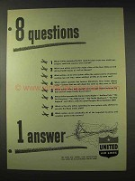 1948 United Air Lines Ad - 8 Questions 1 Answer