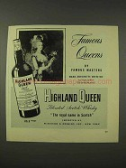 1948 Highland Queen Scotch Ad - Marie Antoinette