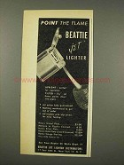 1948 Beattie Jet Lighter Ad - Point the Flame