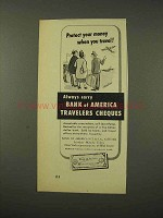 1948 Bank of America Travelers Checks Ad - Protect