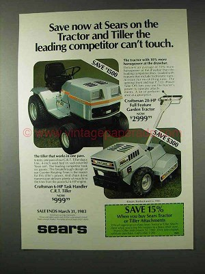 1983 Sears Craftsman Garden Tractor, C.R.T. Tiller Ad