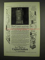 1927 Capitol Boilers and Radiators Ad - Round Boiler
