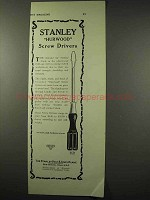 1922 Stanley Tool Ad - Hurwood Screw Driver No. 20