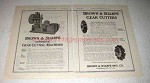 1922 Brown & Sharpe Automatic Gear Cutting Machine Ad