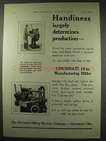 1922 Cincinnati Milling Machine Ad - 18-in Miller
