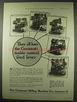 1922 Cincinnati Milling Machine Ad - Double Feed Level