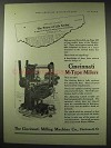 1922 Cincinnati Milling Machine Ad - M-Type Miller