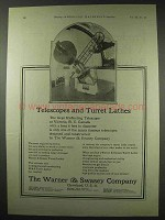 1922 Warner & Swasey Turret Lathes Ad - Telescopes