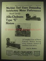 1922 Allis-Chalmers Type E Motors Ad - Performance