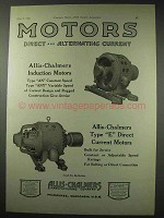 1922 Allis-Chalmers Motors Ad - Induction, Type E DC