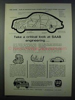 1962 Saab 96 Car Ad - A Critical Look at Engineering
