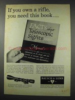 1961 Bausch & Lomb Balvar 8 Scope Ad - Own a Rifle