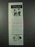 1961 First National Bank of Chicago Travelers Checks Ad