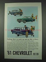1961 Chevy Car Ad - Biscayne, Impala, Brookwood