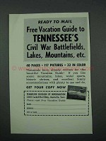 1961 Tennessee Tourism Ad - Civil War Battlefields