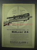 1960 Bausch & Lomb Balvar 24 Rifle Scope Ad