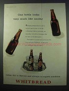 1960 Whitbread Ale Ad - One Bottle Looks Like Another