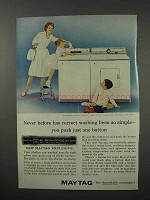 1960 Maytag Washer and Dryer Ad - Push One Button