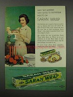 1960 Saran Wrap Ad - Woman Who Loves To Entertain