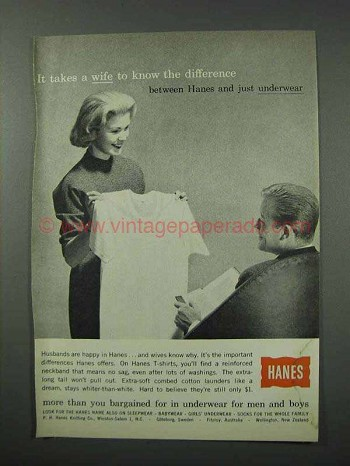 1960 Hanes Underwear Ad - Takes a Wife to Know