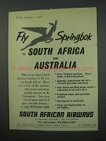 1960 South African Airways Ad - Fly Springbok