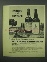 1960 Williams & Humbert Carlito and Dry Sack Sherry Ad