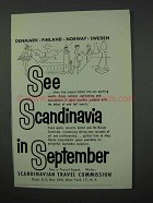 1960 Scandinavia Tourism Ad - See in September