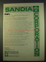 1963 Sandia Corporation Ad - PhD's