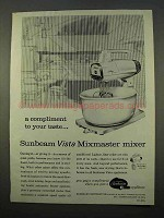 1963 Sunbeam Vista Mixmaster Mixer Ad - Compliment